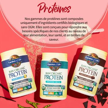 Protéines. Nos gammes de protéines sont composées uniquement d'ingrédients certifiés biologiques et sans OGM. Elles sont conçues pour répondre aux besoins spécifiques de nos clients au niveau de leur alimentation, leur santé, et en termes de saveur.
