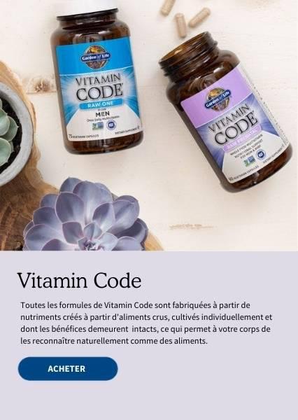Vitamin Code. Toutes les formules de Vitamin Code sont fabriquées à partir de nutriments créés à partir d'aliments crus, cultivés individuellement et dont les bénéfices demeurent intacts, ce qui permet à votre corps de les reconnaitre naturellement comme des aliments.
