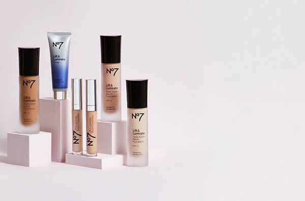 No.7 Best Sellers: Full 360 - Incredibles lashes, Lift and Luminate Triple Action Serum Foundation and no.7 Airbrush Away Primer
