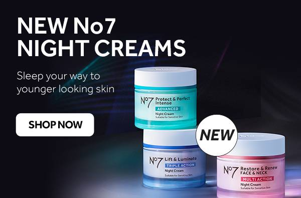 New No7 Night Cream Sleep your way to younger looking skin. Shop now.