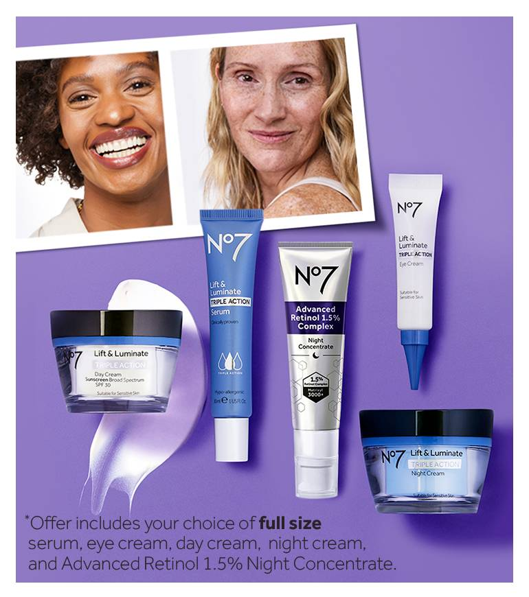 Win a year of your favorite No7 skincare regimen. Enter below for a chance to win a years supply of a skincare regimen of your choice. Entry deadline 11/30/2021.