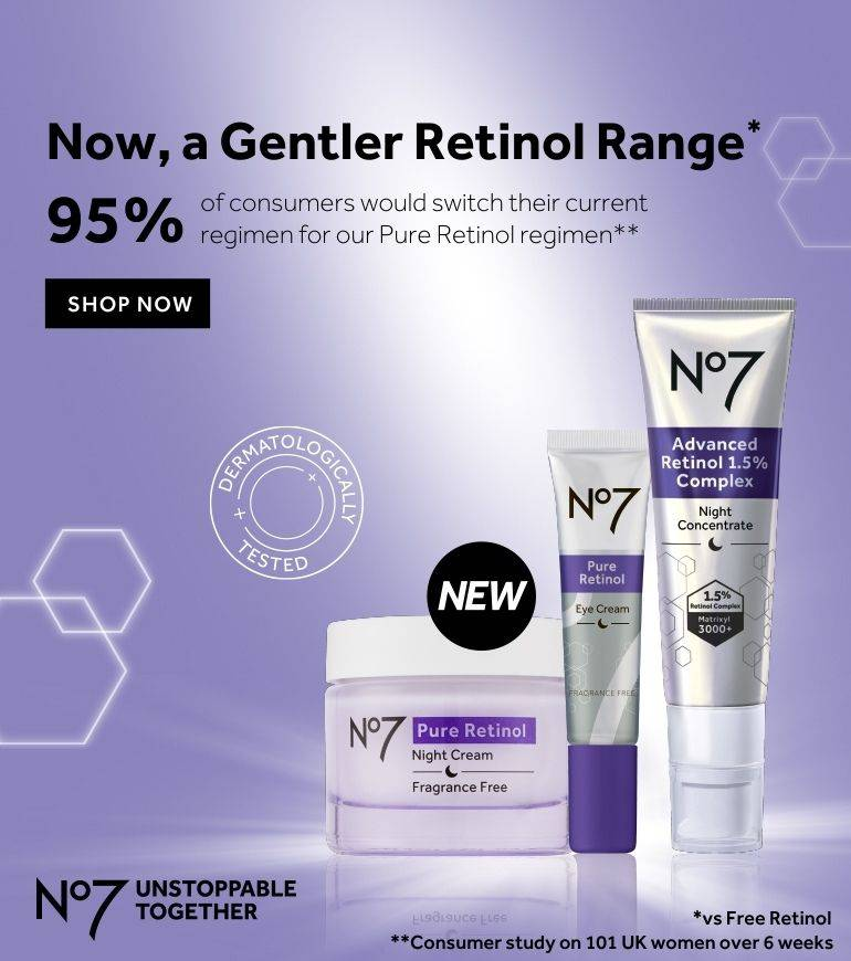 Unlock your skin's potential with the power of Pure Retinol. Powerful results when used alone. Transformational when used together.* Consumer study on 101 women over 6 weeks