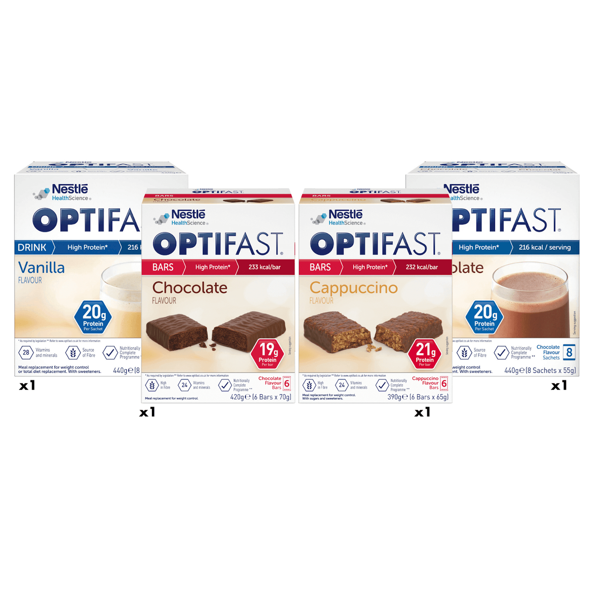 Intermittent fasting plan with OPTIFAST vanilla and chocolate flavoured shakes, chocolate and cappuccino flavoured bars