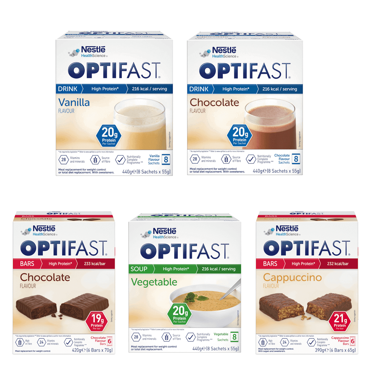 OPTIFAST vanilla and chocolate flavoured shakes, chocolate and cappuccino flavoured bars, and vegetable soup