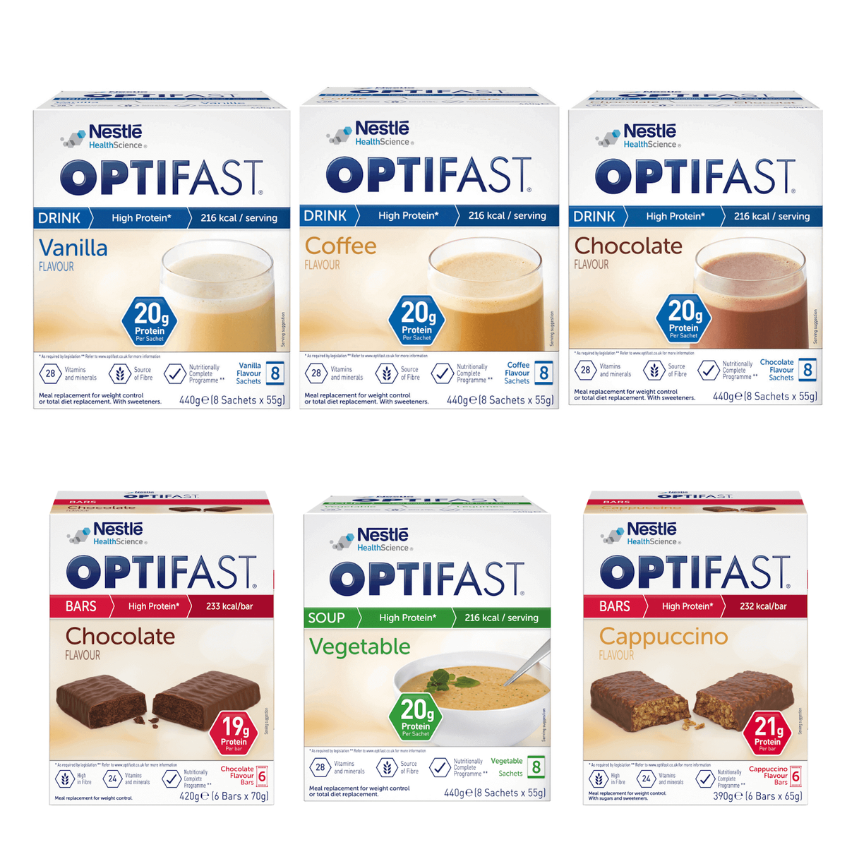 OPTIFAST vanilla, coffee and chocolate shakes, chocolate and cappuccino flavoured bars, and vegetable soup