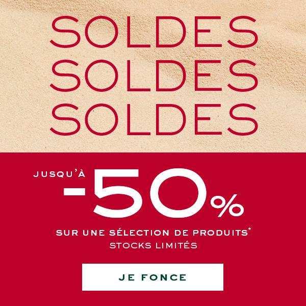 Soldes Jusqu'a -50% sur une selection de produits* stocks limites JE FONCE button