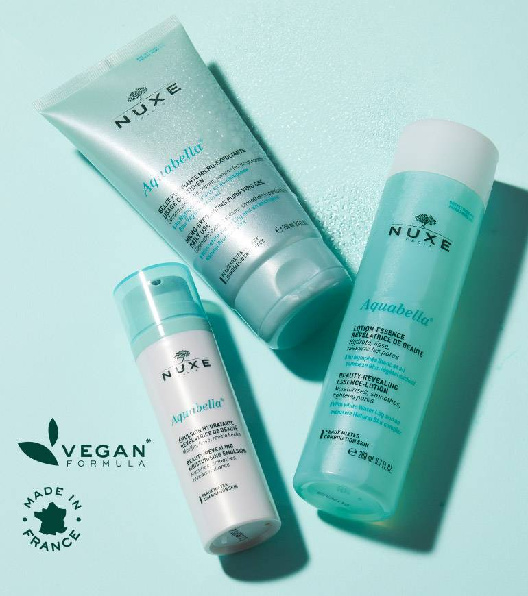 Aquabella Vegan formula made in France. NUXE's first beauty-revealing moisturizing range, developed specially for combination skin- Get 15% off