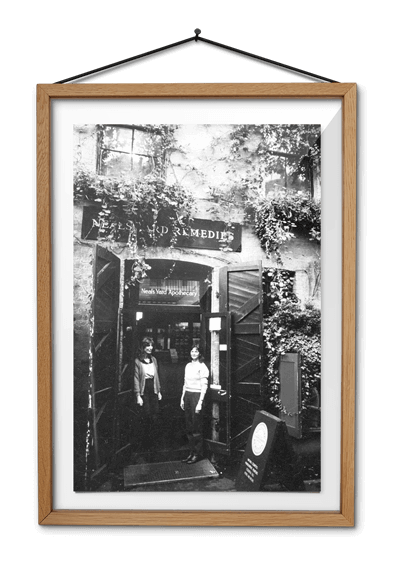 Black & white photo of Neal's Yard shop