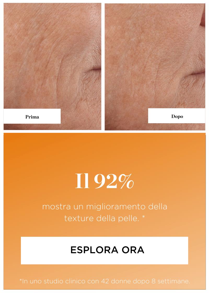 I risultati Perricone MD. Prima e dopo - Il  92%  mostra un miglioramento della  texture della pelle. Esplora ora.