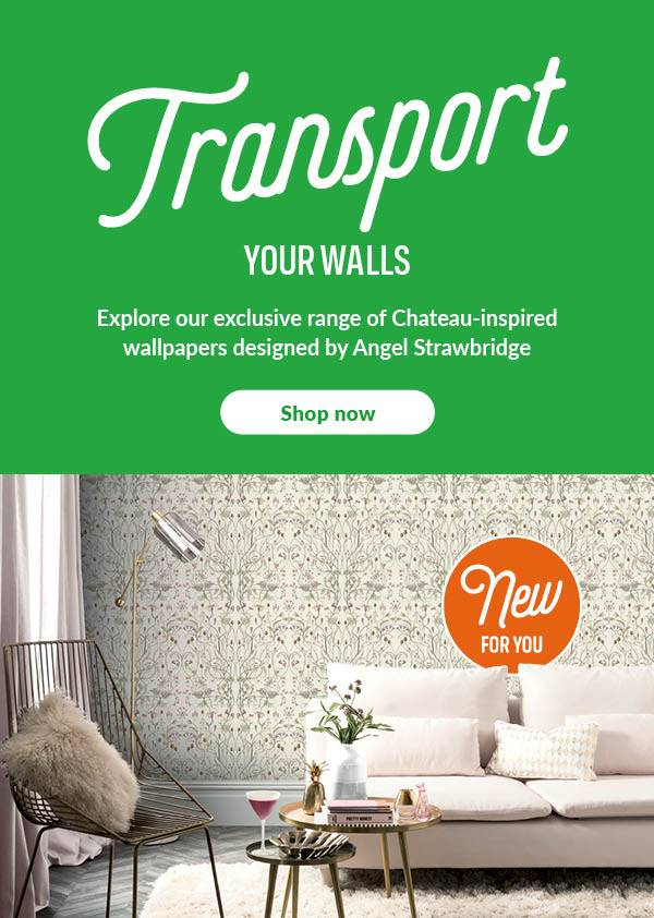 Transport your walls. Explore our exclusive range of Chateau-inspired wallpapers designed by Angel Strawbridge.