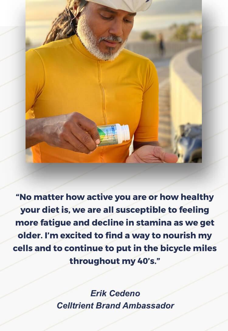 Brand Ambassador Erik taking Cellular Urolithin A Supplement Saying