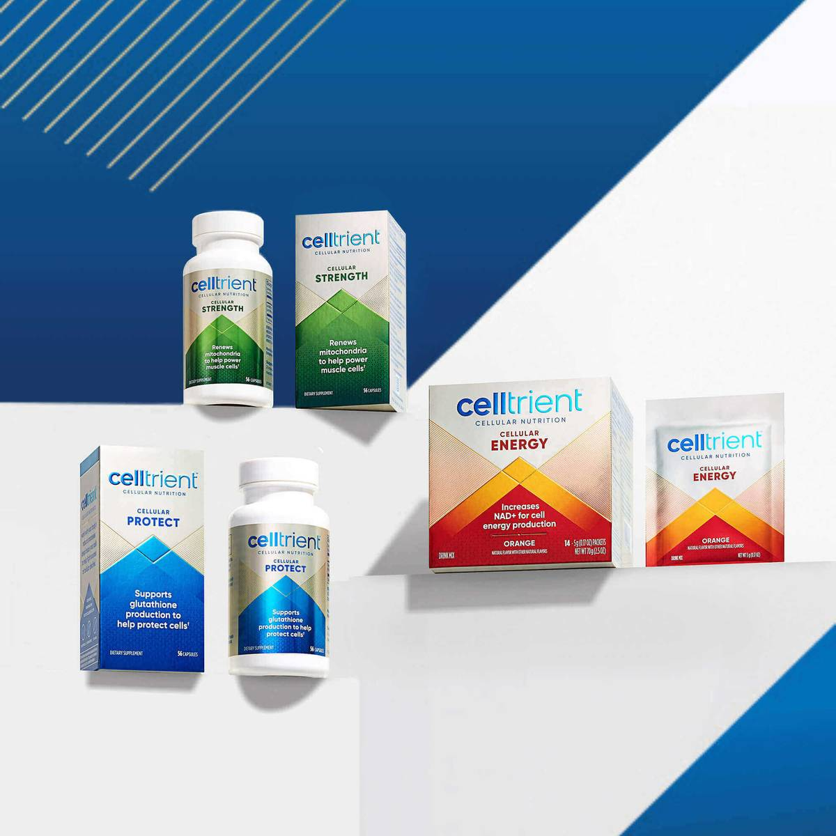 Image of Cellular Strength Urolithin A Supplement, Cellular Energy NAD+ Supplement and Cellular Protect Glutathione Supplement