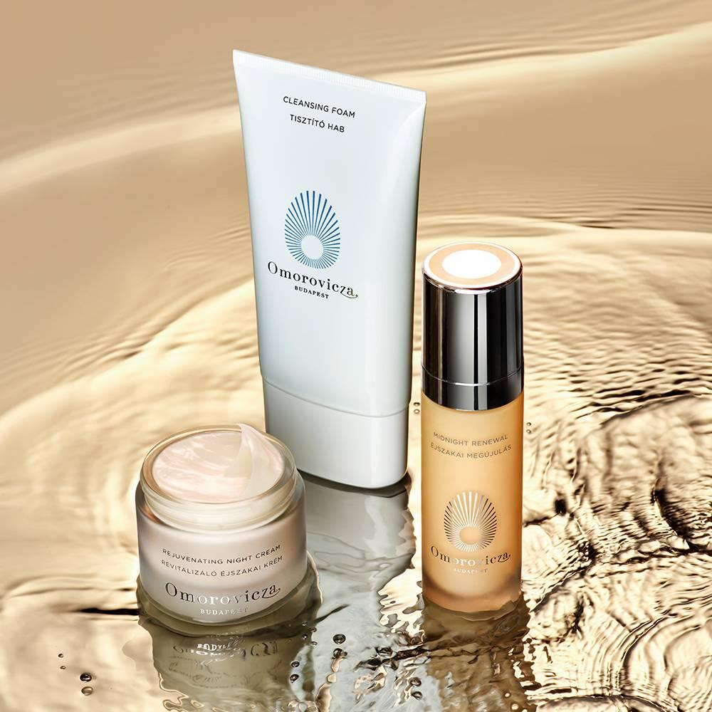 night time regime rejuvenating night cream, cleansing foam and midnight renewal