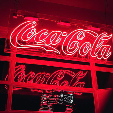 Light-up Coca-Cola sign