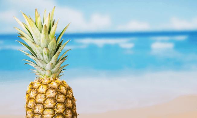 Pineapple on a tropical beach