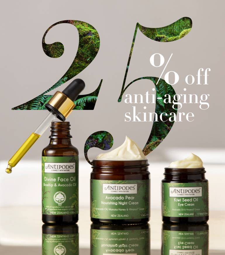 Healthy skin is possible at any age – when nature and science are on your side. Get 25% off our anti-aging range and discover formulations that boost collagen, smooth fine lines, and revitalise tired skin.