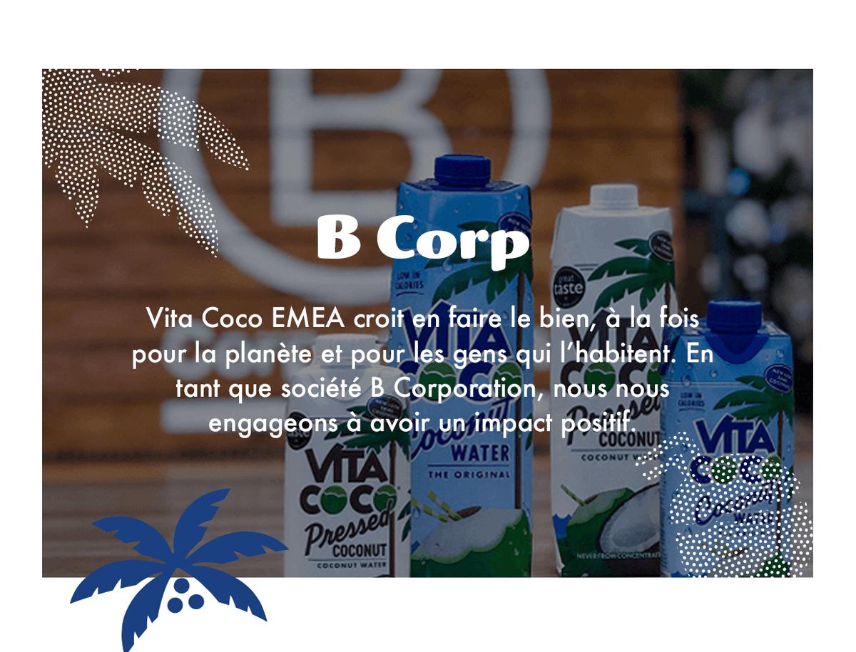 Chez Vita Coco EMEA, nous croyons en la nécessité d'agir pour le bien, à la fois pour la planète et pour les personnes qui l'habitent. En tant qu'entreprise certifiée BCorp, nous nous engageons à avoir un impact positif.