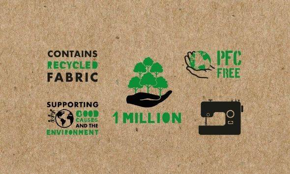 Contains recycled fabric. PFC free. Supporting good causes and the environment. 1 million.