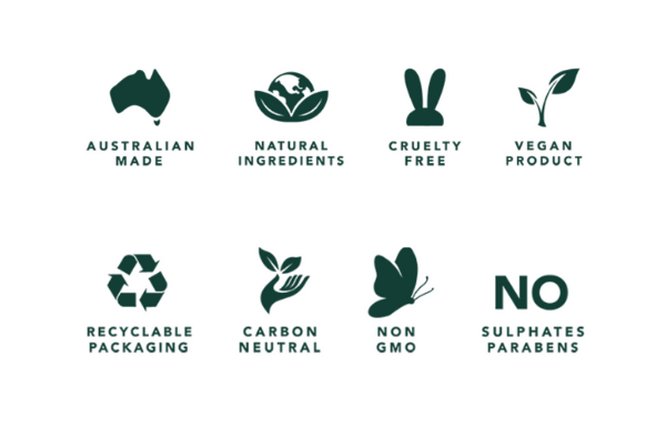 AUSTRALIAN MADE NATURAL INGREDIENTS CRUELTY FREE VEGAN PRODUCT RECYCLABLE PACKAGING CARBON NEUTRAL NON GMO NO SULPHATES PARABENS