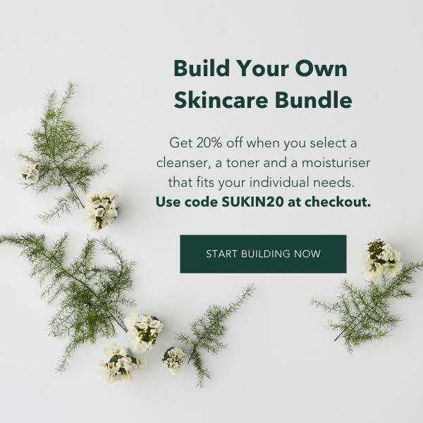 Build your own routine with 3 skincare products of your choice.Get 20% off when you select a cleanser, a toner and a moisturiser that fits your individual needs. Use code SUKIN20 at checkout.