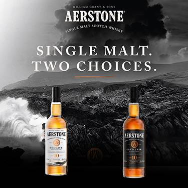 William Grand and sons Aerstone single malt scotch Whisky. Single malt. Two choices. Sea cask, smooth and easy. Land cask, rich and smoky.