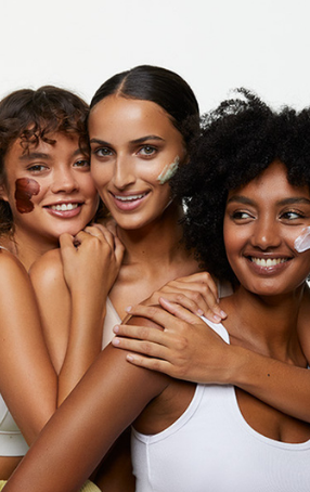 Three models with Andalou face masks