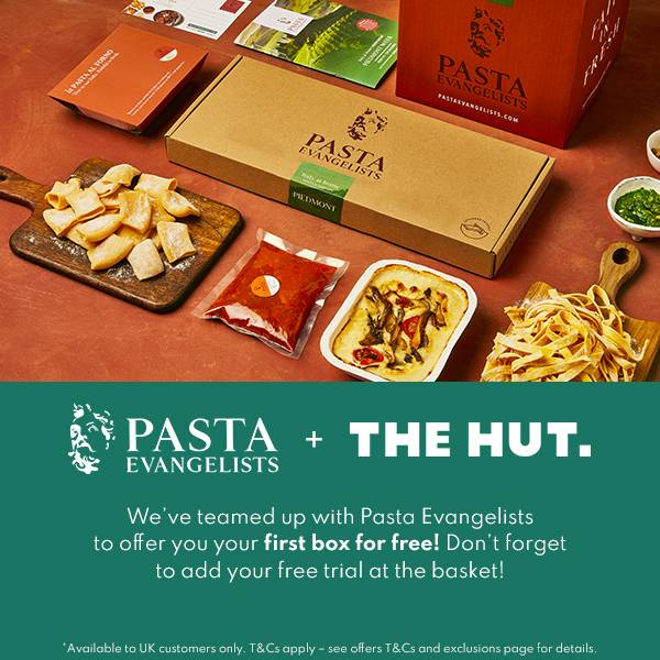 UK customers can enjoy a free trial box with Pasta Evangelists when you shop with us for a limited time!