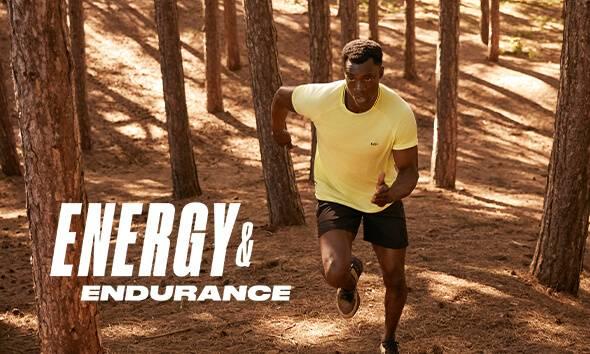 man running in forest