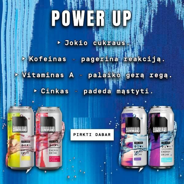 Power Up. Jokio cukraus ir jokių kalorijų. Kofeinas - pagerina reakciją. Vitaminas A - palaiko gerą regą. Cinkas - padeda mąstyti. Pirkti dabar.
