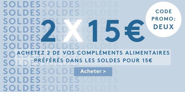 2 x 15€ - achetez 2 produit dans les soldes pour que 15€- code promo: DEUX