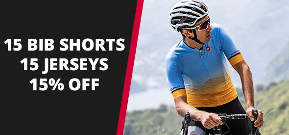 15% off 15 Bib Shorts and Jerseys
