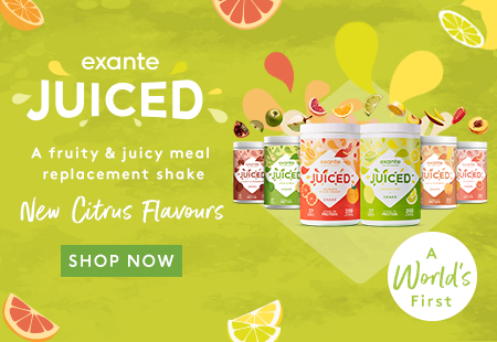 exante JUICED ' A fruity meal replacement shake with clear whey protein' New citrus flavours