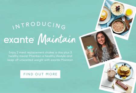 introducing exante maintain. enjoy 2 meal replacement shakes a day plus 3 healthy meals