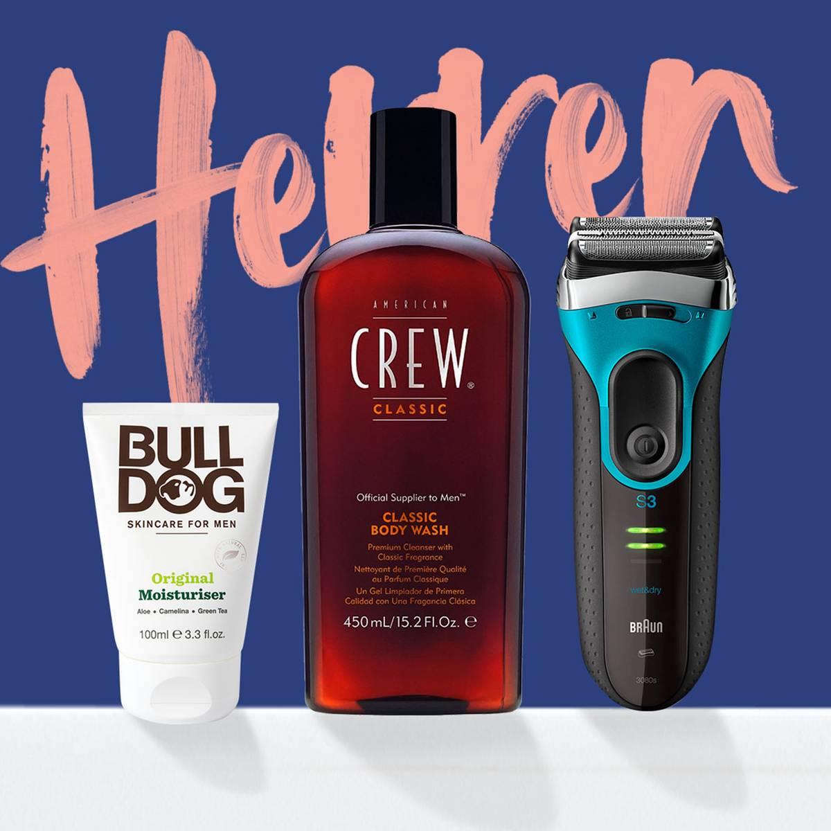 Hier findest du alles für ihn, von der Rasur, über Düfte bis hin zu Hautpflege. Mit starken Marken wie Clinique, Bulldog und American Crew.