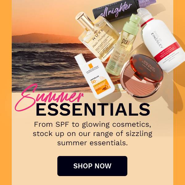 Summer Essentials - From SPF to glowing cosmetics, stock up on our range of sizzling summer essentials.