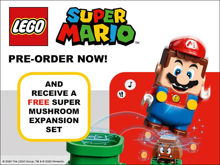 LEGO Super Mario - Pre-Order Now and receive a FREE Super Mushroom expansion set!