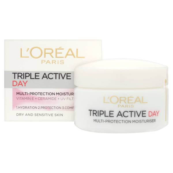 Crema hidratante de día multi-protección Dermo Expertise Triple Active de L'Oreal Paris, para pieles secas/sensibles (50 ml)