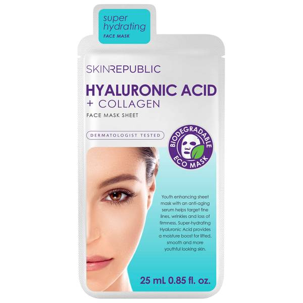 Skin Republic Hyaluronic Acid + Collagen Face Sheet Mask 25ml