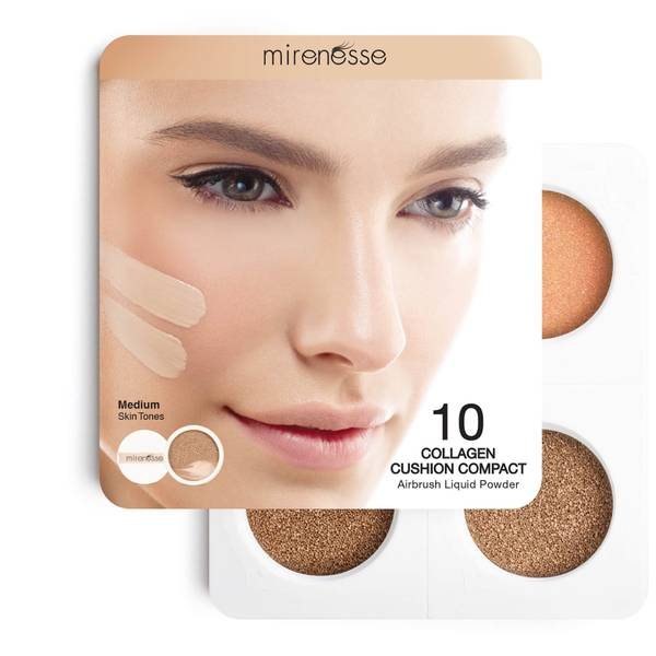 mirenesse 4 Piece Starter Collagen Cushion Foundation and Blush Mini Set - Medium 6g