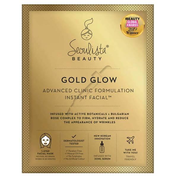 Тканевая экспресс-маска против морщин Seoulista Beauty Gold Glow Instant Facial