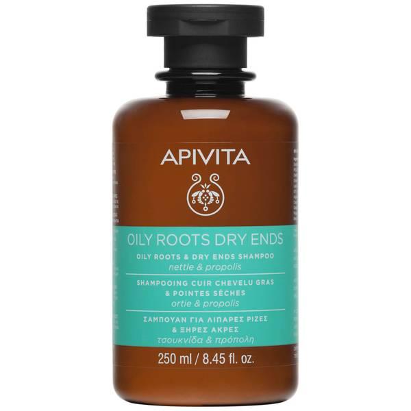 Champú equilibrante para raíz grasa y puntas secas para el cuidado holístico del cabello de APIVITA - ortiga y propóleo 250 ml