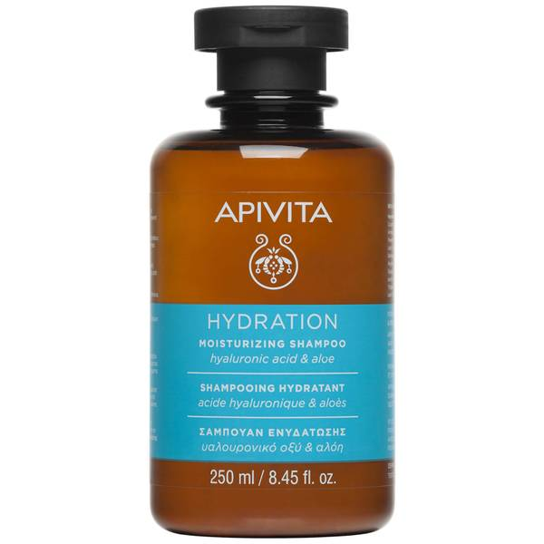 Champú hidratante para el cuidado holístico del cabello de APIVITA - ácido hialurónico y aloe 250 ml