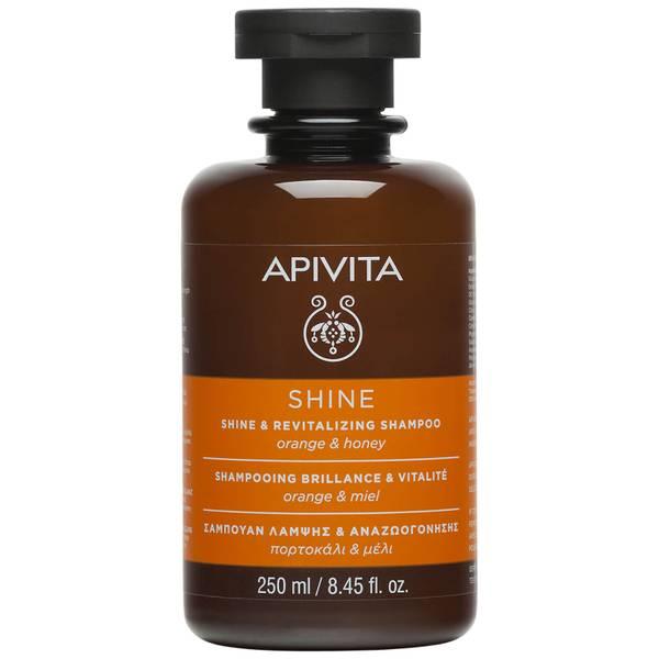 Champú brillo y vitalidad para el cuidado holístico del cabello de APIVITA - naranja y miel 250 ml