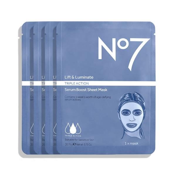 No7 Lift & Luminate Triple Action Serum Boost Sheet Mask (4 Pack)