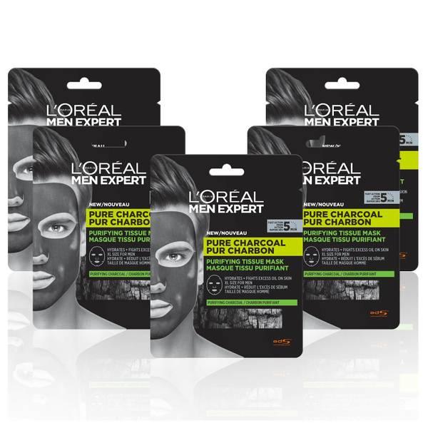 L'Oréal Paris Men Expert Pure Charcoal Face Mask x5