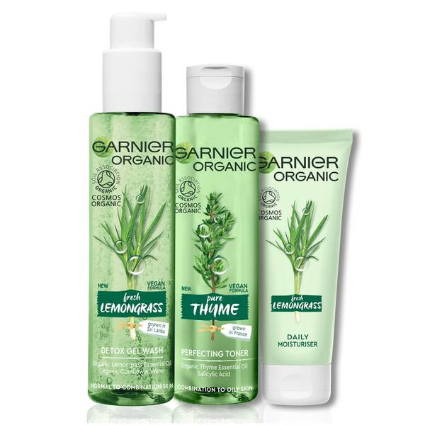 Garnier Organic Essentials Nourishing Set for All Skin Types: Lemongrass Gel Wash, Thyme Toner & Lemongrass Moisturiser