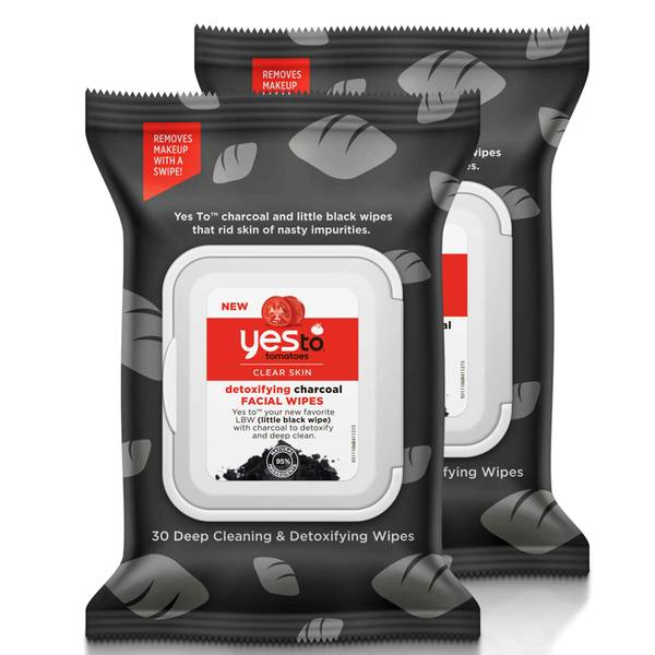 yes to Tomatoes Clear Skin Detoxifying Charcoal Facial Wipes (Pack of 2)