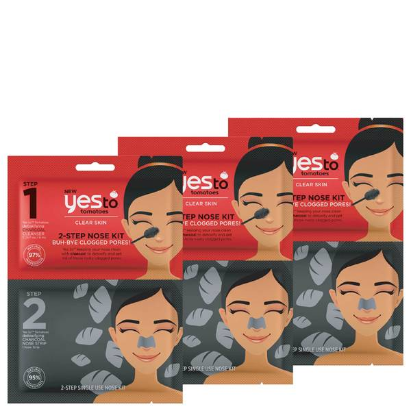 yes to Tomatoes Charcoal 2-Step Nose Kit: Buh-Bye Clogged Pores! (Pack of 3)