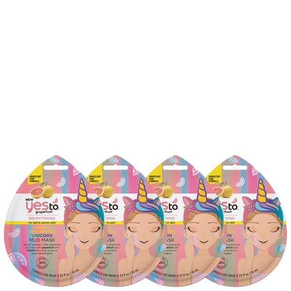 yes to Grapefruit Vitamin C Glow Boosting Mud Single Use Mask (Pack of 4)