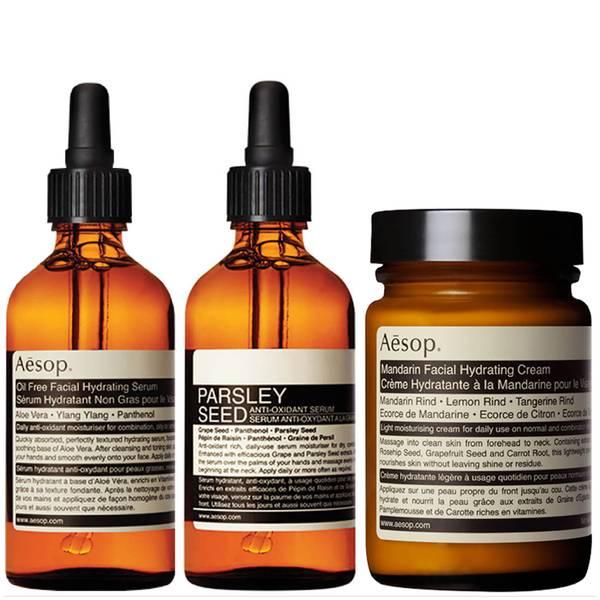 Aesop Mandarin Facial Cream, Parsley Seed Serum and Lightweight Serum Bundle (Worth £153.00)